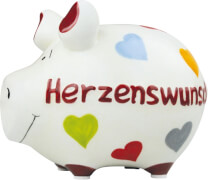 Sparschwein ''Herzenswunsch'' - Kleinschwein von KCG - Höhe ca. 9 cm